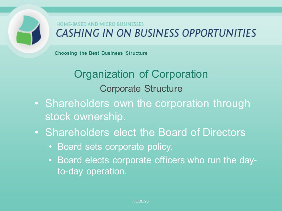 Organization of Corporation Corporate Structure Shareholders own the corporation through stock ownership.