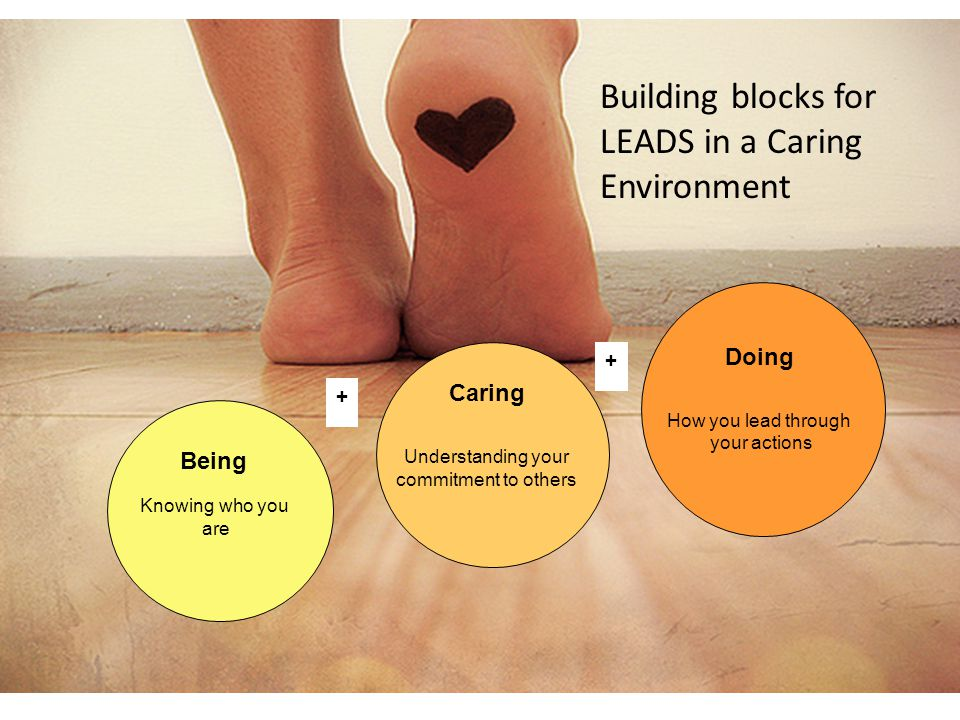 Building blocks for LEADS in a Caring Environment Being Knowing who you are Doing How you lead through your actions Caring Understanding your commitment to others + +