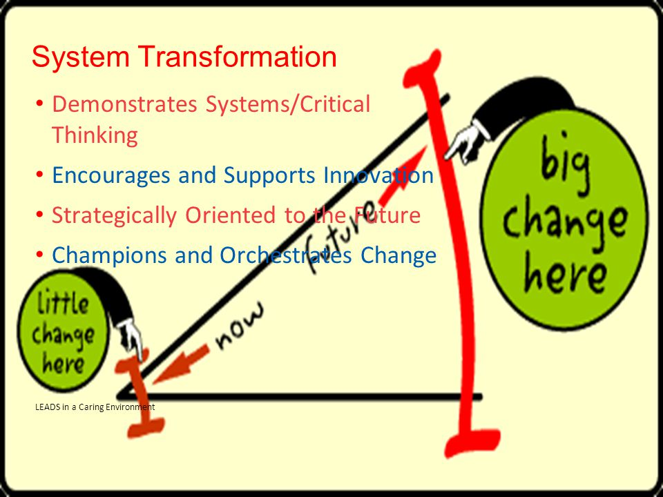 System Transformation Demonstrates Systems/Critical Thinking Encourages and Supports Innovation Strategically Oriented to the Future Champions and Orchestrates Change LEADS in a Caring Environment