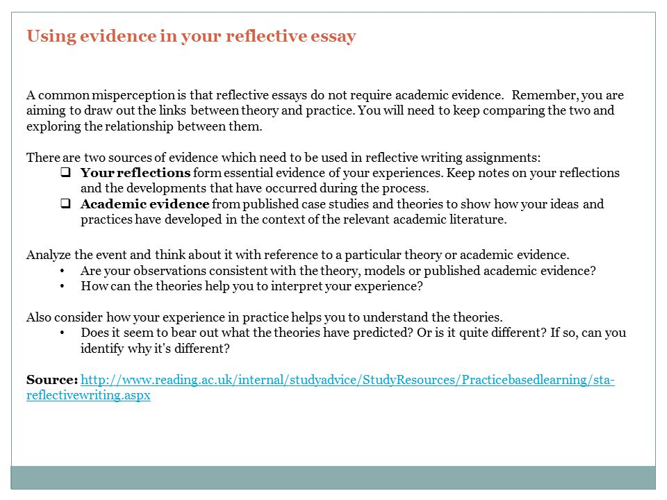reflecting on reflective practice essay Reflective practice then allows teachers to continuously evolve, grow, remain relevant and adapt to the needs of their students it then stands to reason that teachers who do not reflect run the risk of making poor decisions, and not learning from these, even if often there is no definitive answer to.