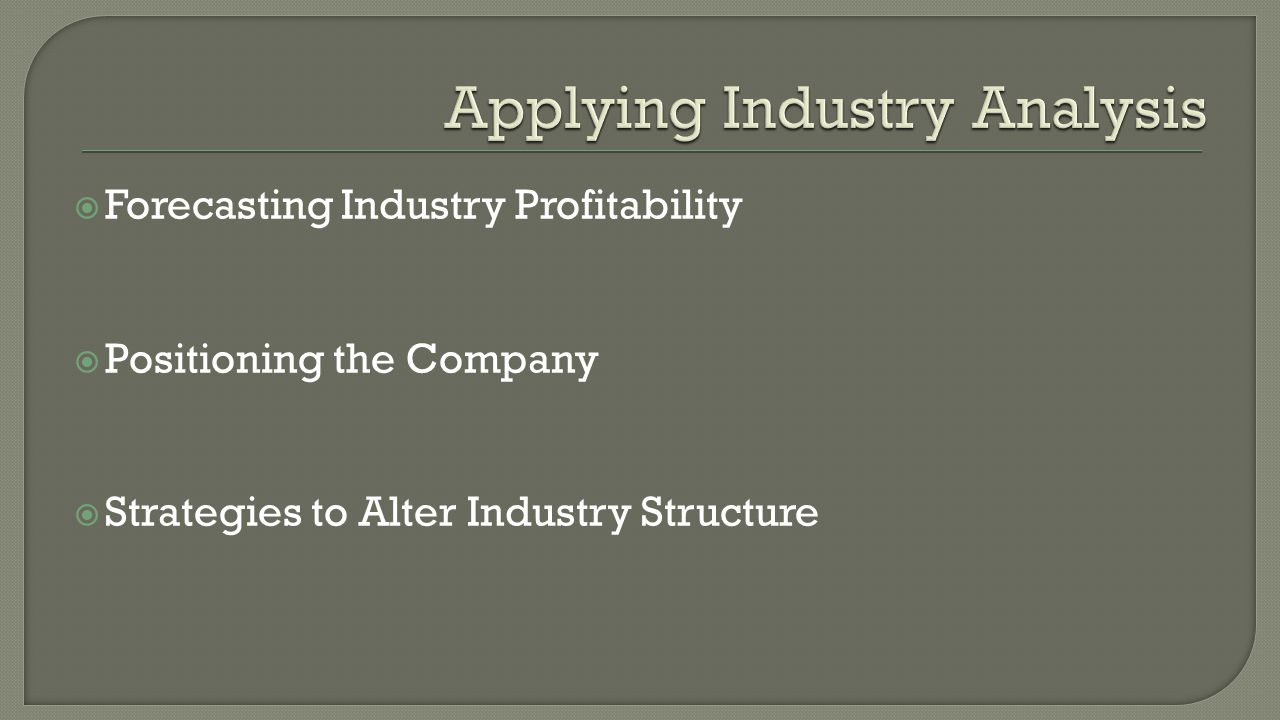  Forecasting Industry Profitability  Positioning the Company  Strategies to Alter Industry Structure