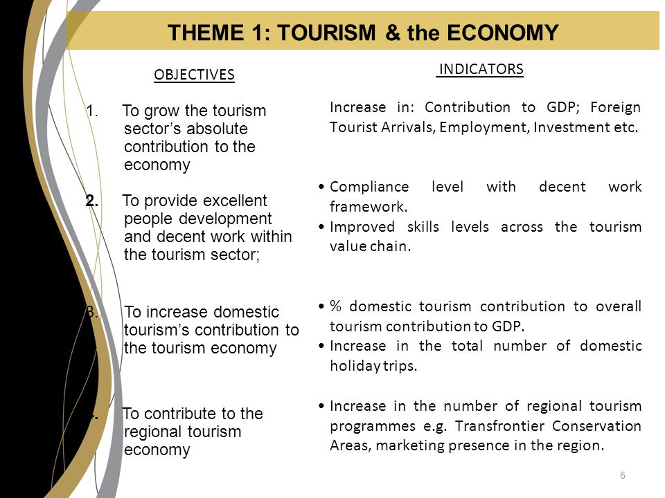 THEME 1: TOURISM & the ECONOMY OBJECTIVES 1.
