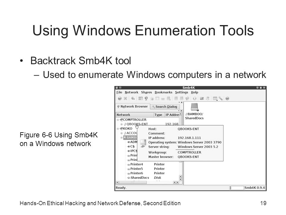 Using Windows Enumeration Tools Backtrack Smb4K tool –Used to enumerate Windows computers in a network Hands-On Ethical Hacking and Network Defense, Second Edition19 Figure 6-6 Using Smb4K on a Windows network