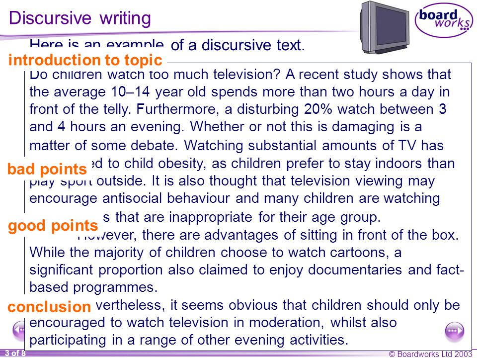 © Boardworks Ltd of 8 Discursive writing Here is an example of a discursive text.
