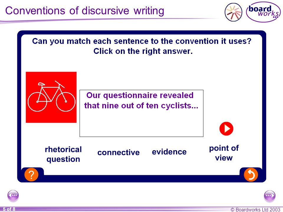 © Boardworks Ltd of 8 Conventions of discursive writing