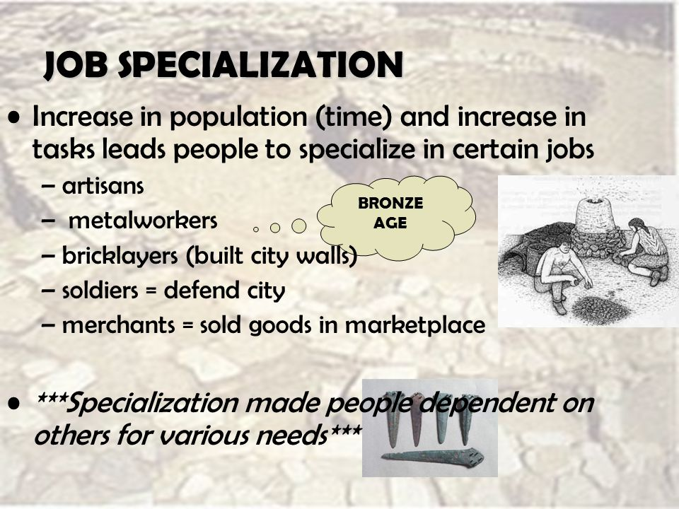 JOB SPECIALIZATION BRONZE AGE Increase in population (time) and increase in tasks leads people to specialize in certain jobs –artisans – metalworkers –bricklayers (built city walls) –soldiers = defend city –merchants = sold goods in marketplace ***Specialization made people dependent on others for various needs***