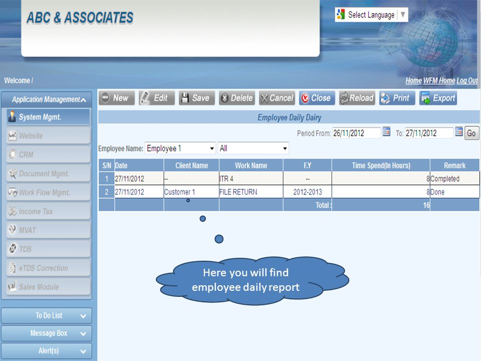 Here you will find employee daily report