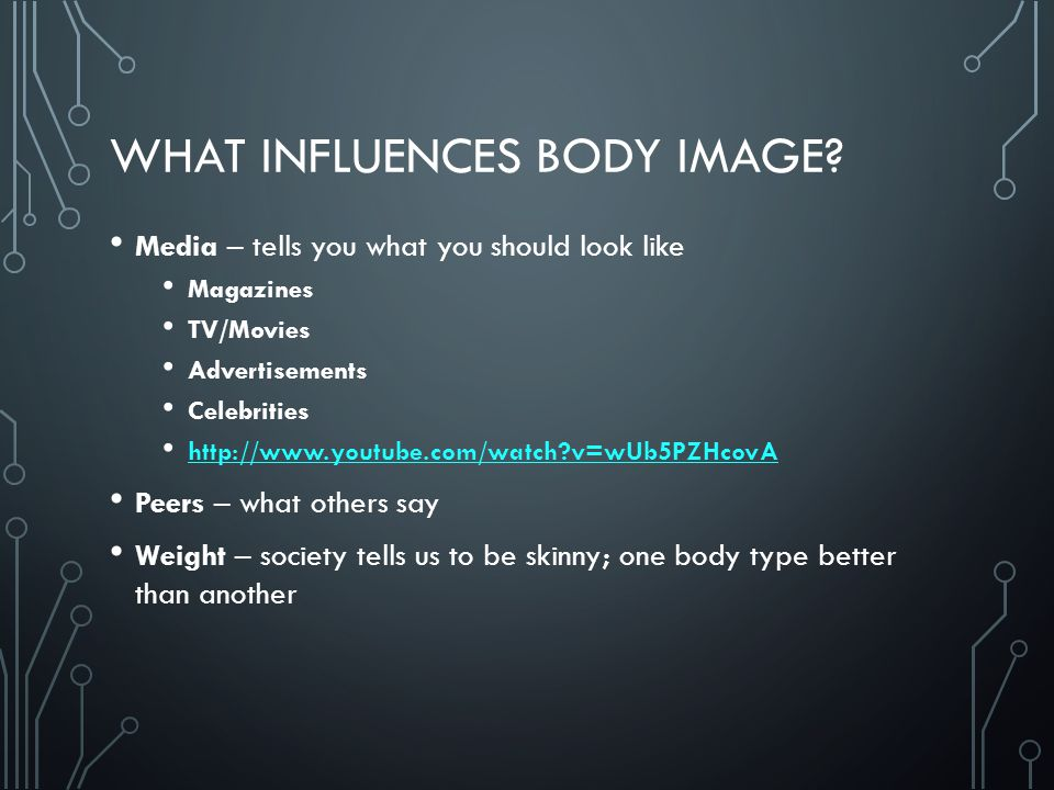 WHAT INFLUENCES BODY IMAGE.