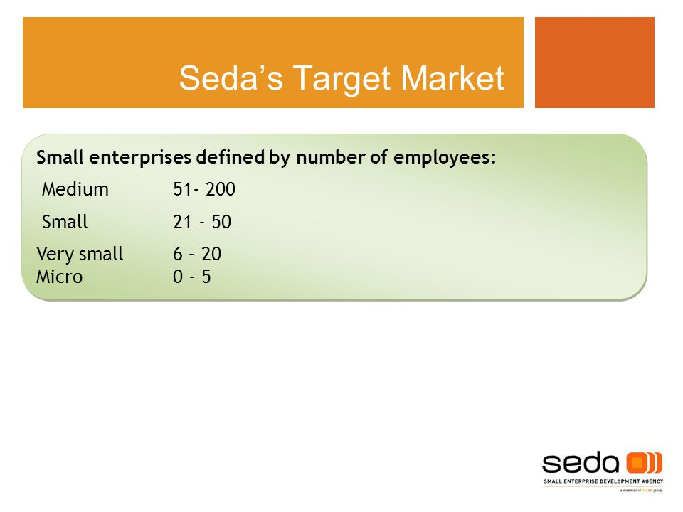 Seda's Target Market Small enterprises defined by number of employees: Medium Small Very small6 – 20 Micro0 - 5 Small enterprises defined by number of employees: Medium Small Very small6 – 20 Micro0 - 5