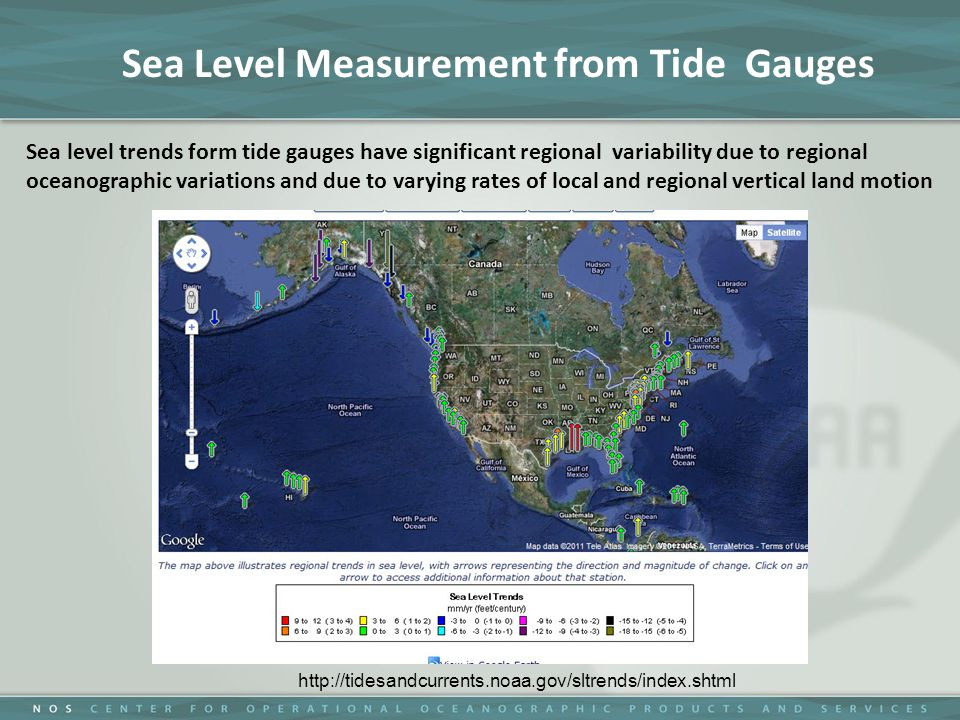 Sea Level Measurement from Tide Gauges   Sea level trends form tide gauges have significant regional variability due to regional oceanographic variations and due to varying rates of local and regional vertical land motion