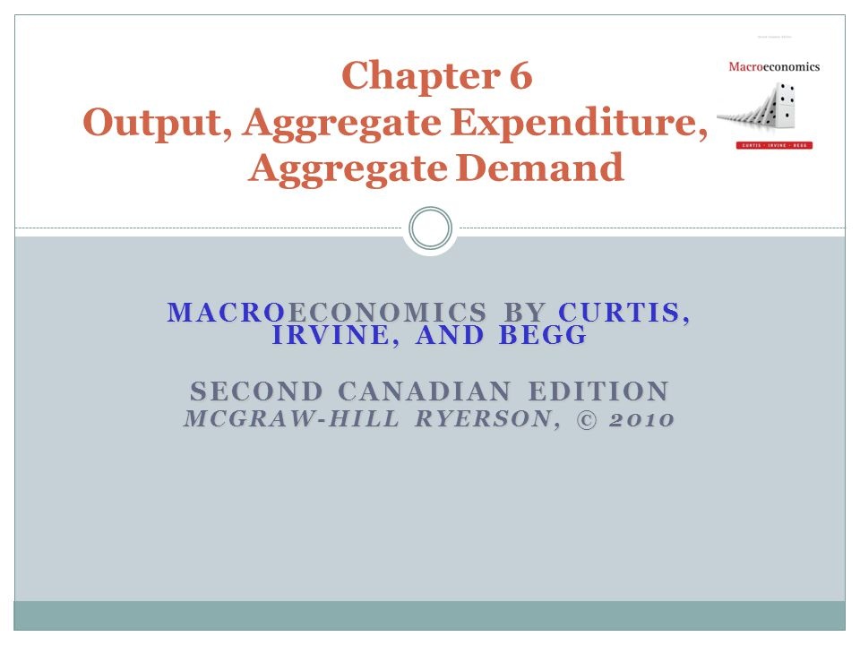 MACROECONOMICS BY CURTIS, IRVINE, AND BEGG SECOND CANADIAN EDITION MCGRAW-HILL RYERSON, © 2010 Chapter 6 Output, Aggregate Expenditure, and Aggregate Demand