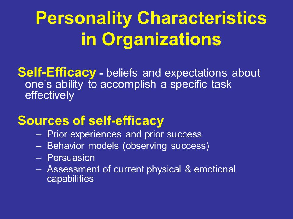 Personality Characteristics in Organizations Self-Efficacy - beliefs and expectations about one's ability to accomplish a specific task effectively Sources of self-efficacy –Prior experiences and prior success –Behavior models (observing success) –Persuasion –Assessment of current physical & emotional capabilities
