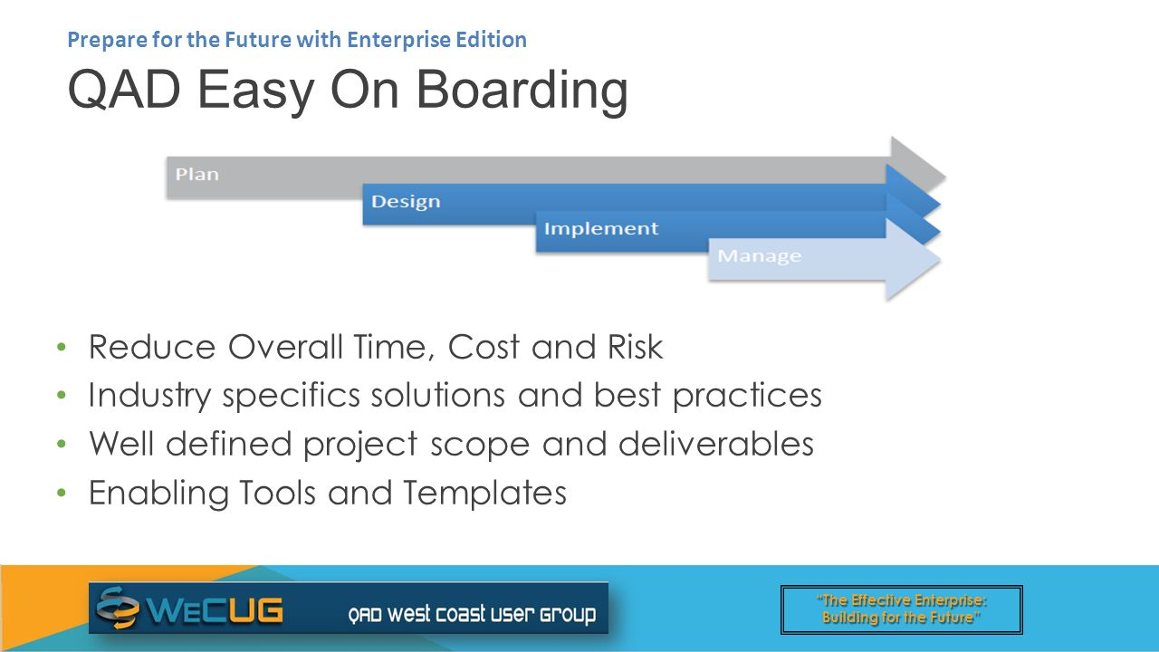 The Effective Enterprise: Building for the Future QAD Easy On Boarding Prepare for the Future with Enterprise Edition Reduce Overall Time, Cost and Risk Industry specifics solutions and best practices Well defined project scope and deliverables Enabling Tools and Templates