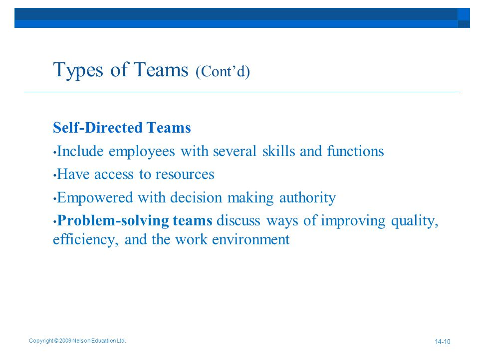 Types of Teams (Cont'd) Self-Directed Teams Include employees with several skills and functions Have access to resources Empowered with decision making authority Problem-solving teams discuss ways of improving quality, efficiency, and the work environment Copyright © 2009 Nelson Education Ltd.