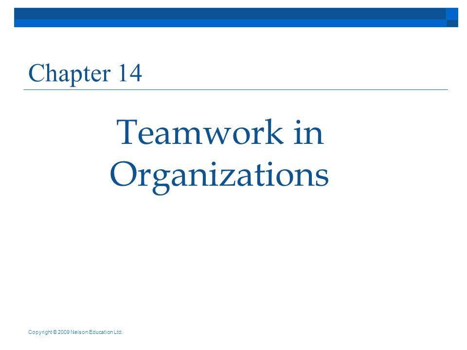 Teamwork in Organizations Chapter 14 Copyright © 2009 Nelson Education Ltd.