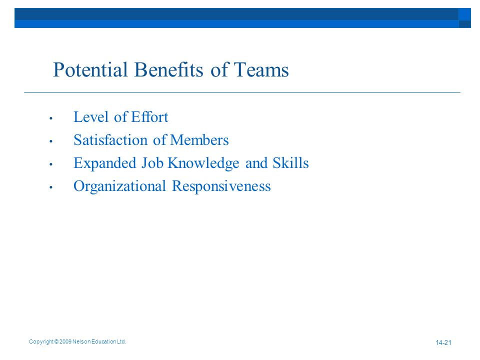 Potential Benefits of Teams Copyright © 2009 Nelson Education Ltd.