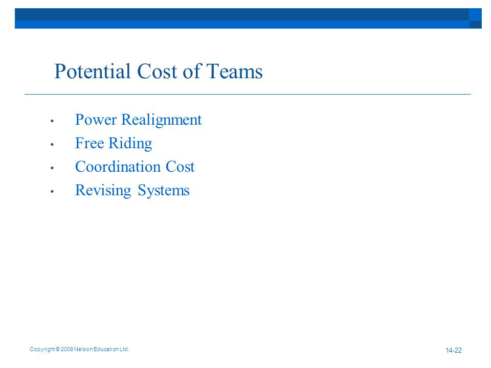 Potential Cost of Teams Power Realignment Free Riding Coordination Cost Revising Systems Copyright © 2009 Nelson Education Ltd.