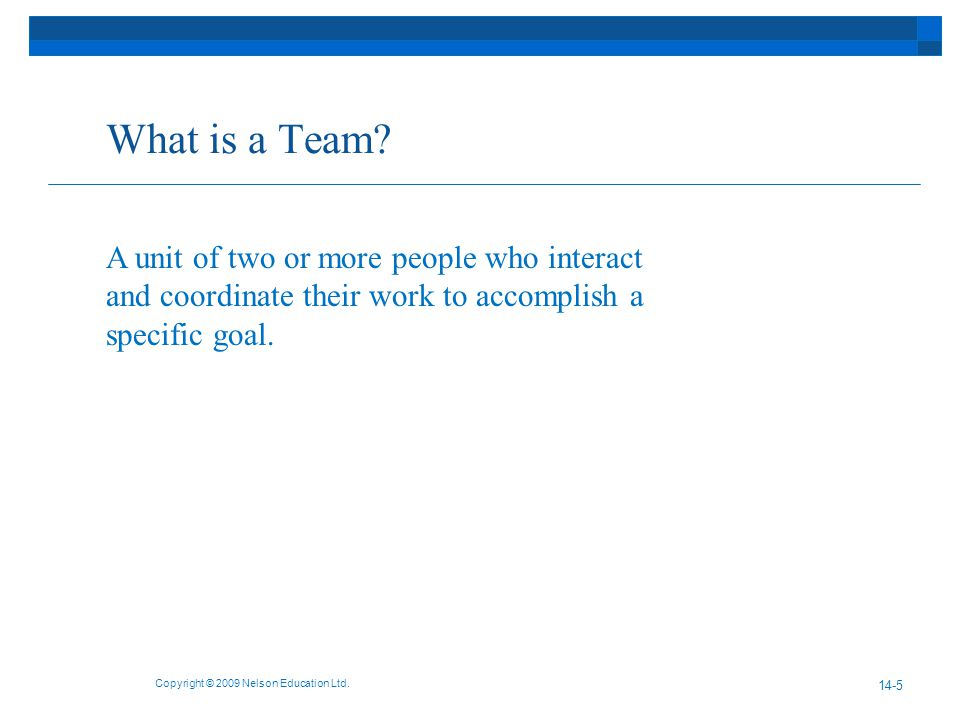 What is a Team. Copyright © 2009 Nelson Education Ltd.