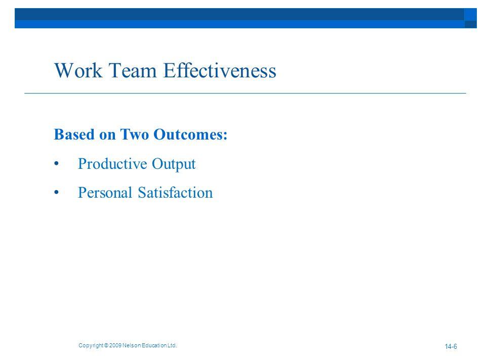 Work Team Effectiveness Copyright © 2009 Nelson Education Ltd.
