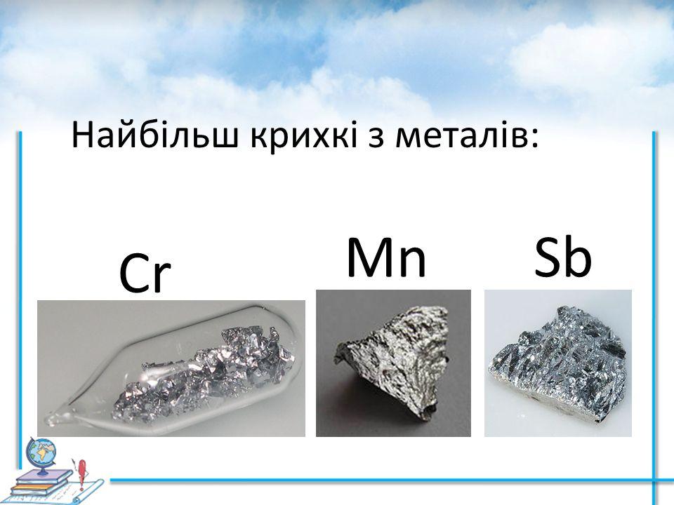 СrСr MnSb Найбільш крихкі з металів: