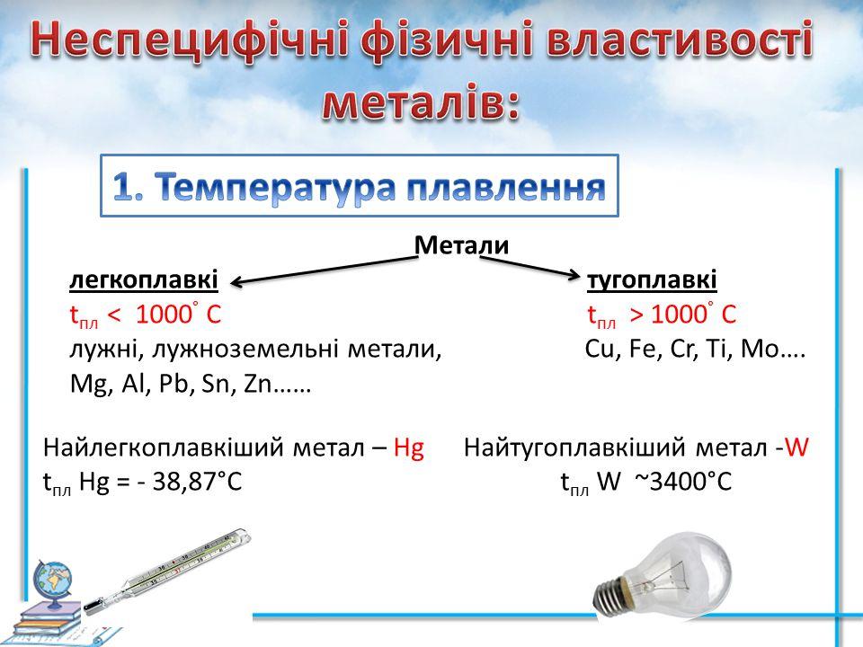 Метали легкоплавкітугоплавкі t пл 1000 ° С лужні, лужноземельні метали, Cu, Fe, Cr, Ti, Mo…. Mg, Al, Pb, Sn, Zn…… Найлегкоплавкіший метал – Hg Найтуго
