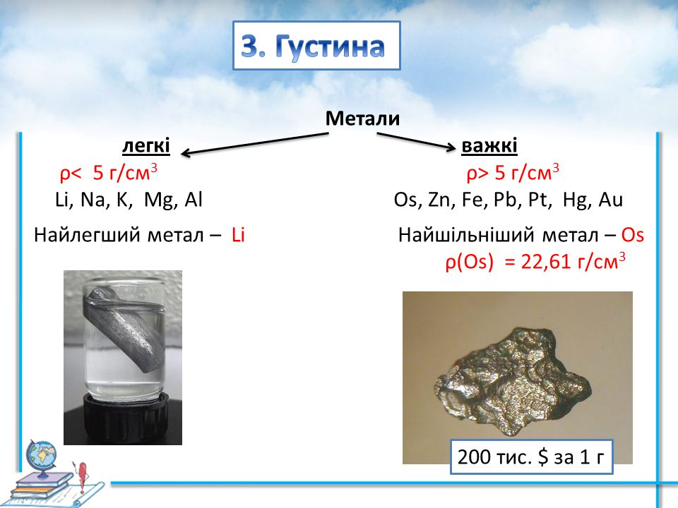 Метали легківажкі ρ 5 г/см 3 Li, Na, K, Mg, Al Os, Zn, Fe, Pb, Pt, Hg, Au Найлегший метал – Li Найшільніший метал – Оs ρ(Оs) = 22,61 г/см 3 200 тис. $