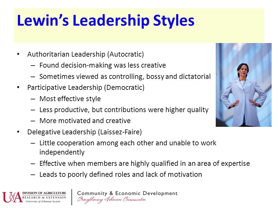 Lewin's Leadership Styles Authoritarian Leadership (Autocratic) – Found decision-making was less creative – Sometimes viewed as controlling, bossy and
