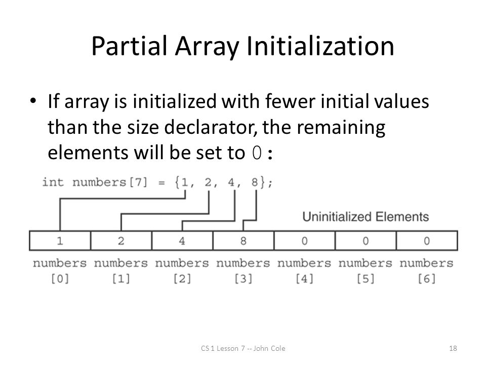 Partial Array Initialization CS 1 Lesson 7 -- John Cole18 If array is initialized with fewer initial values than the size declarator, the remaining elements will be set to 0: