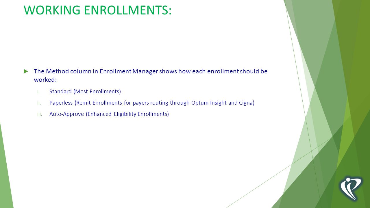 WORKING ENROLLMENTS:  The Method column in Enrollment Manager shows how each enrollment should be worked: I.