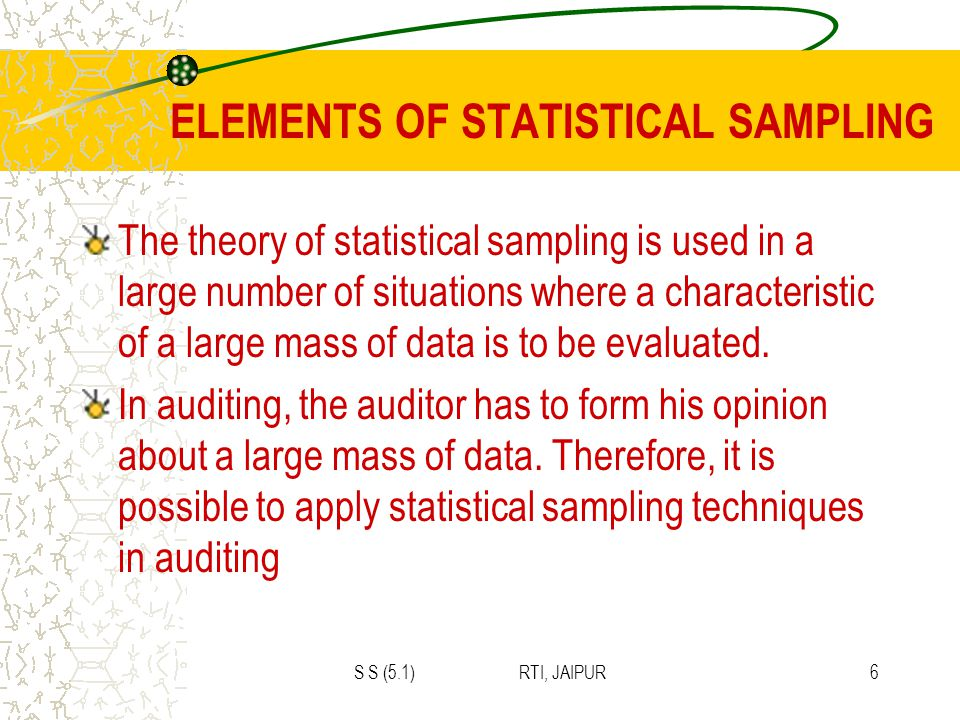 S S (5.1) RTI, JAIPUR6 ELEMENTS OF STATISTICAL SAMPLING The theory of statistical sampling is used in a large number of situations where a characteristic of a large mass of data is to be evaluated.