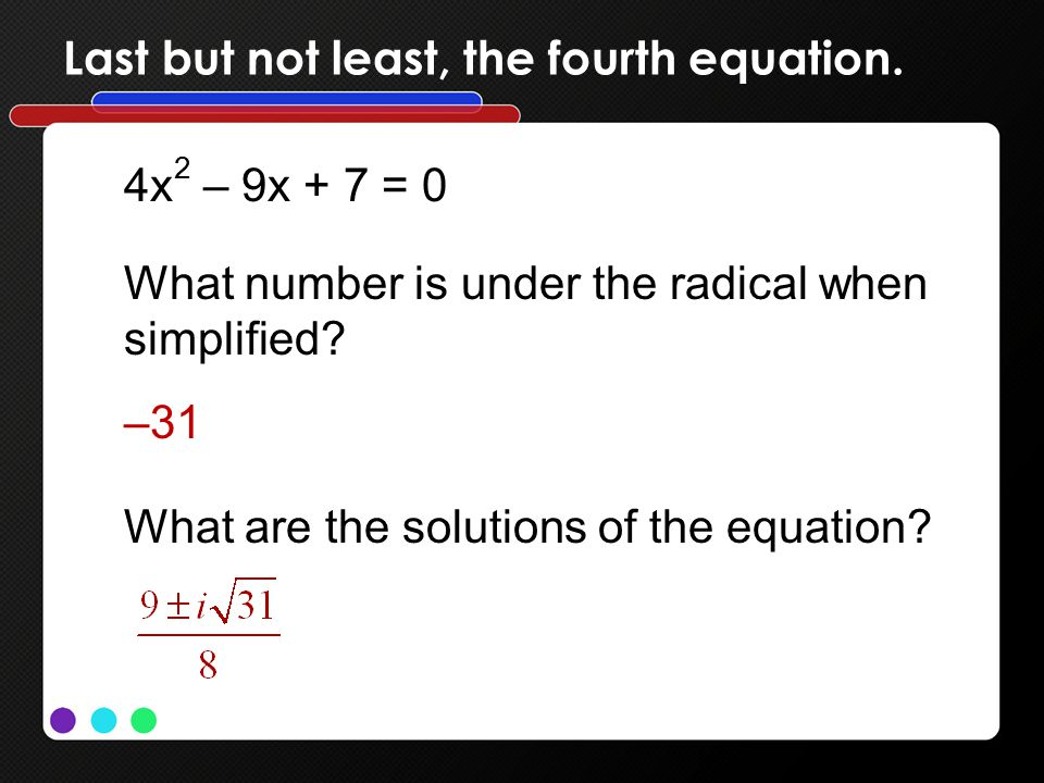 Last but not least, the fourth equation.