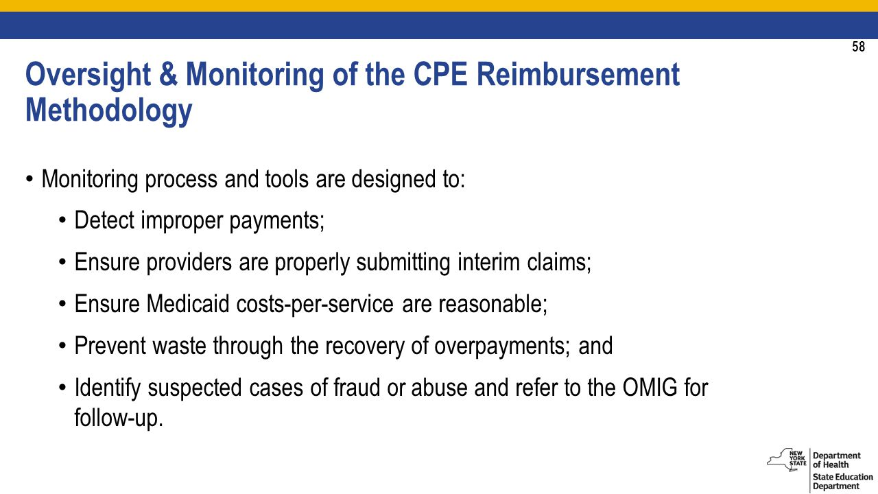 58 Monitoring process and tools are designed to: Detect improper payments; Ensure providers are properly submitting interim claims; Ensure Medicaid costs-per-service are reasonable; Prevent waste through the recovery of overpayments; and Identify suspected cases of fraud or abuse and refer to the OMIG for follow-up.