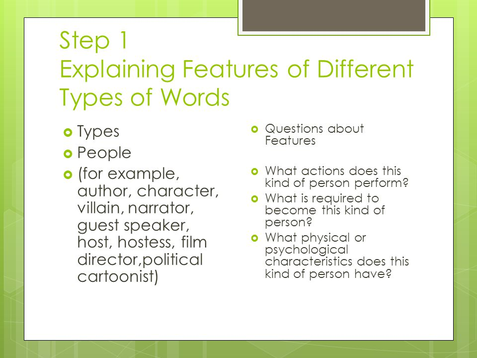 Step 1 Explaining Features of Different Types of Words  Types  People  (for example, author, character, villain, narrator, guest speaker, host, hostess, film director,political cartoonist)  Questions about Features  What actions does this kind of person perform.