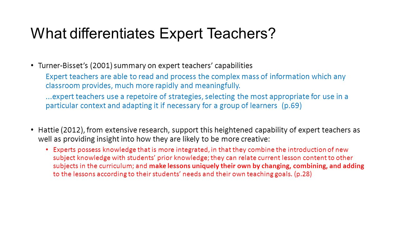 What differentiates Expert Teachers.