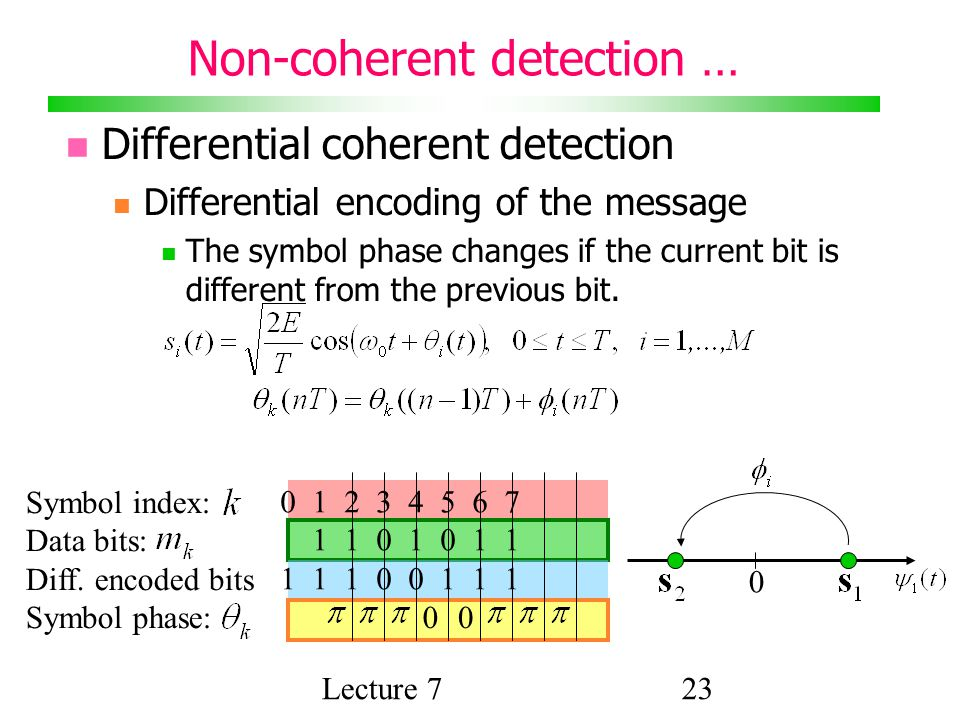 Lecture 723 Non-coherent detection … Differential coherent detection Differential encoding of the message The symbol phase changes if the current bit is different from the previous bit.