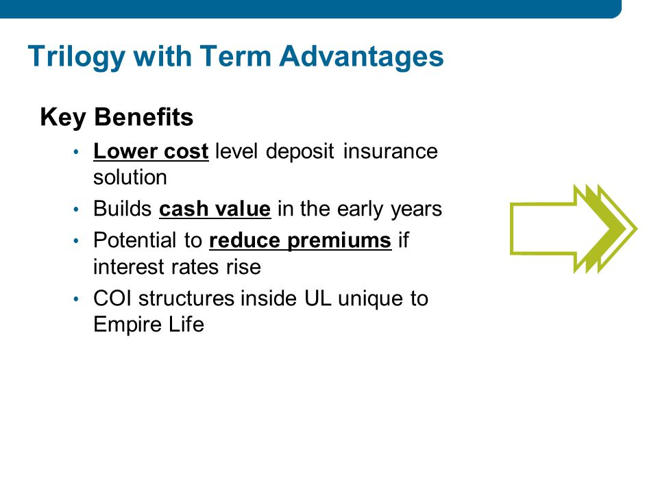 Key Benefits Lower cost level deposit insurance solution Builds cash value in the early years Potential to reduce premiums if interest rates rise COI structures inside UL unique to Empire Life Trilogy with Term Advantages