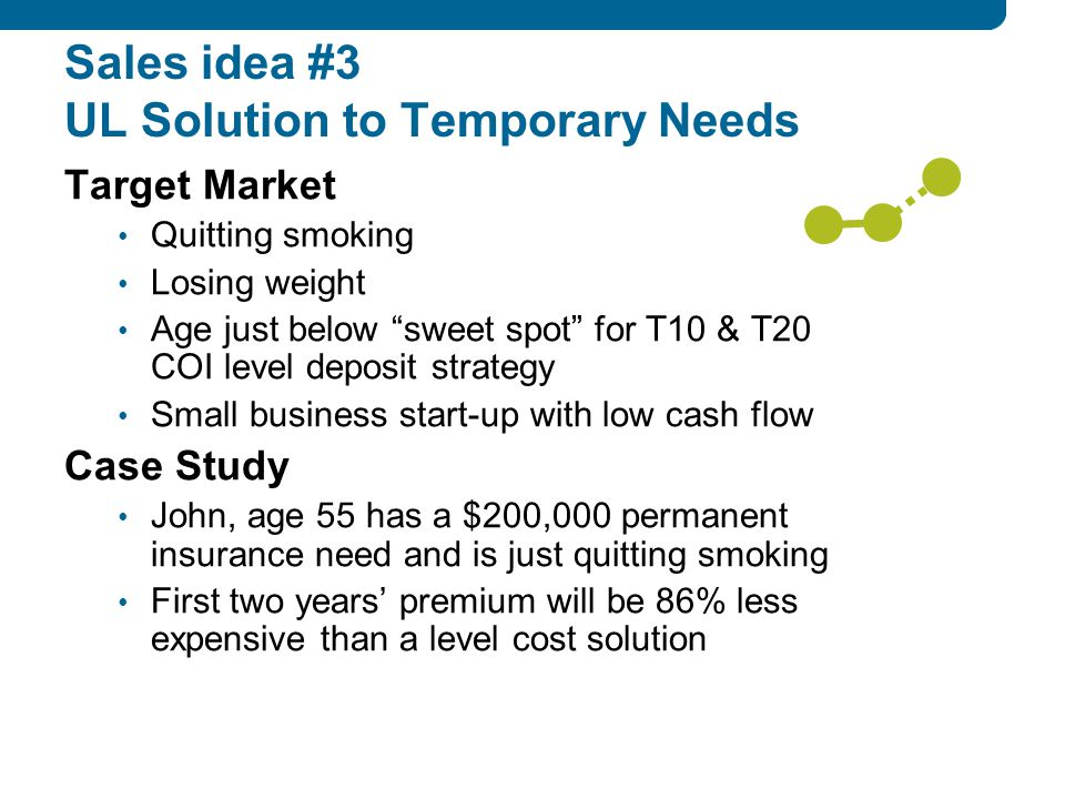 Sales idea #3 UL Solution to Temporary Needs Target Market Quitting smoking Losing weight Age just below sweet spot for T10 & T20 COI level deposit strategy Small business start-up with low cash flow Case Study John, age 55 has a $200,000 permanent insurance need and is just quitting smoking First two years' premium will be 86% less expensive than a level cost solution