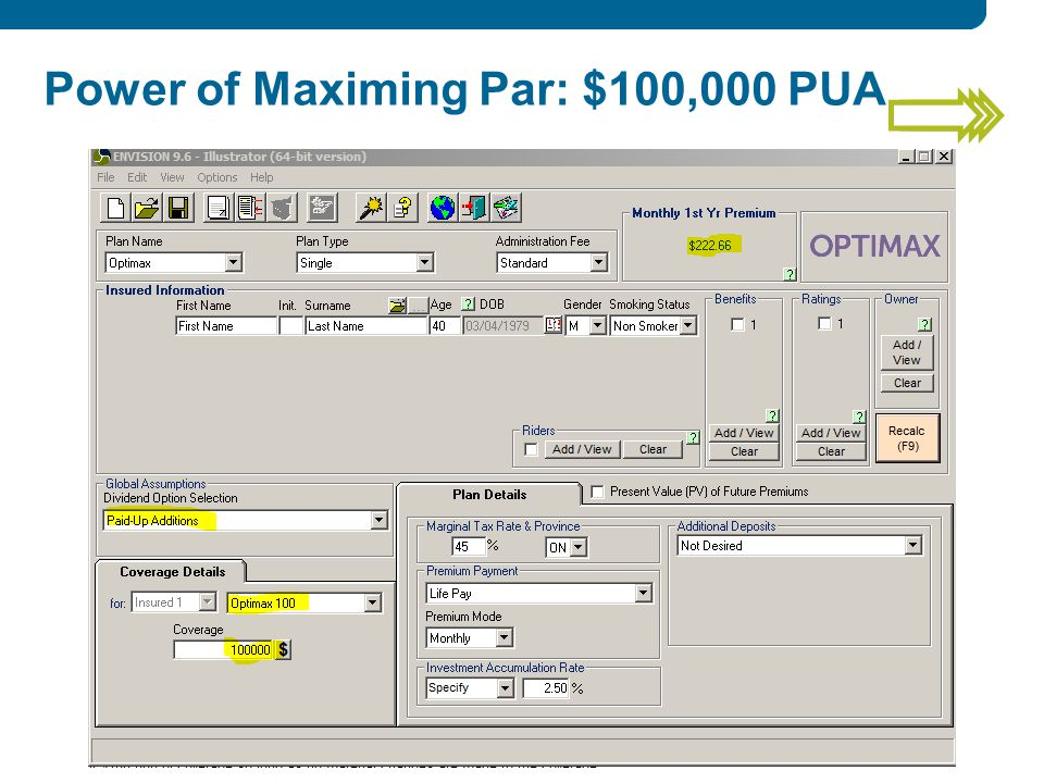 Power of Maximing Par: $100,000 PUA
