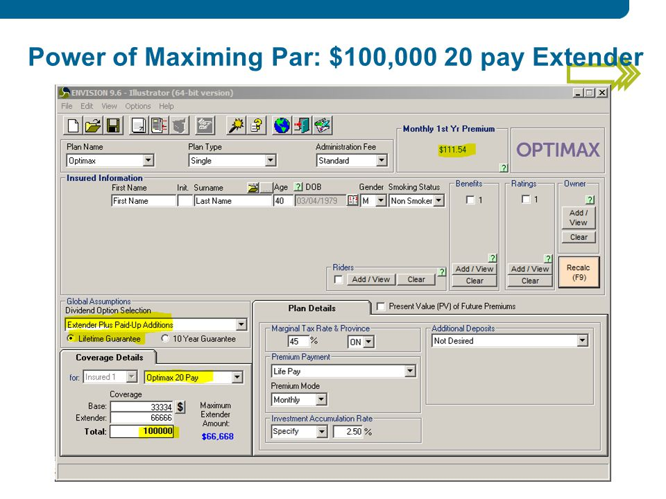Power of Maximing Par: $100, pay Extender