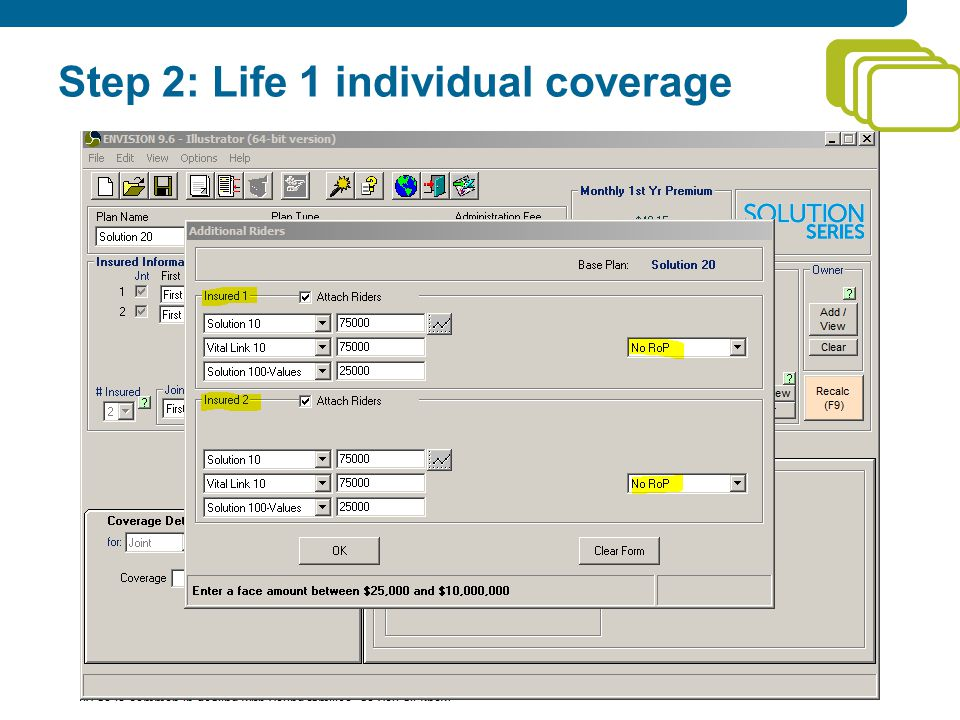 Step 2: Life 1 individual coverage