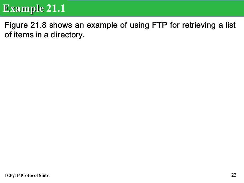 TCP/IP Protocol Suite 23 Figure 21.8 shows an example of using FTP for retrieving a list of items in a directory.