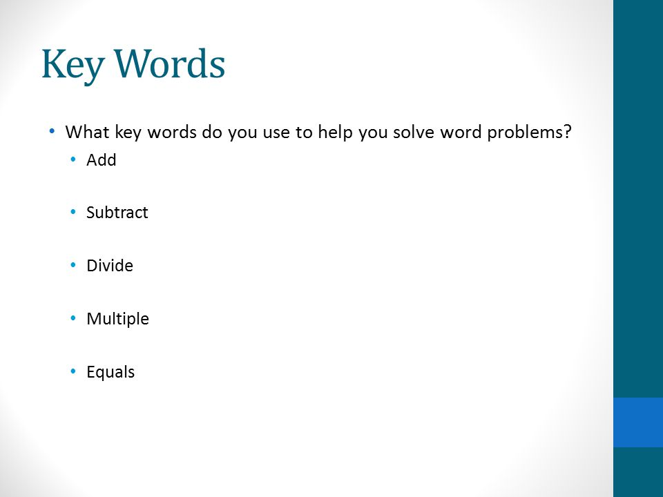 Keywords for solving math word problems