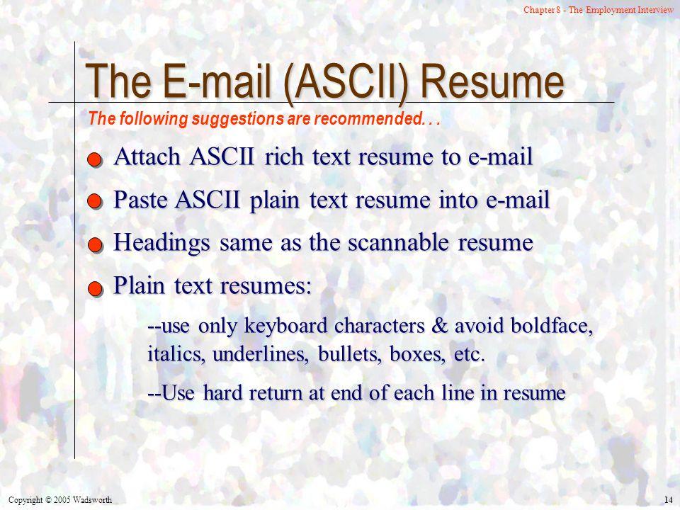 ascii resumes