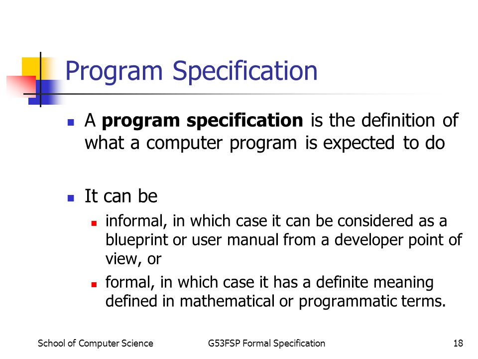 School of computer scienceg53fsp formal specification1 dr rong qu 18 school of computer malvernweather Choice Image