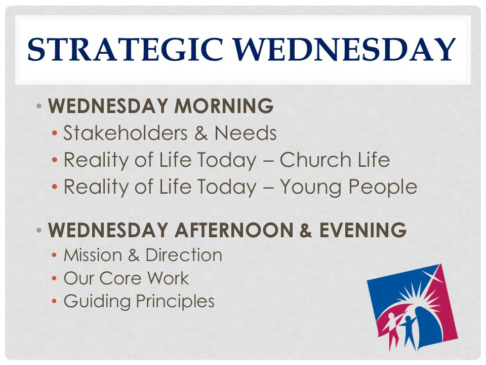 STRATEGIC WEDNESDAY WEDNESDAY MORNING Stakeholders & Needs Reality of Life Today – Church Life Reality of Life Today – Young People WEDNESDAY AFTERNOON & EVENING Mission & Direction Our Core Work Guiding Principles