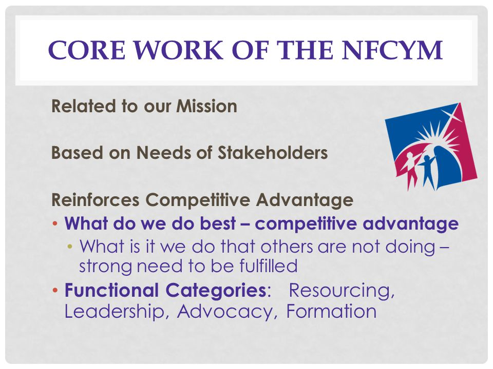 CORE WORK OF THE NFCYM Related to our Mission Based on Needs of Stakeholders Reinforces Competitive Advantage What do we do best – competitive advantage What is it we do that others are not doing – strong need to be fulfilled Functional Categories : Resourcing, Leadership, Advocacy, Formation