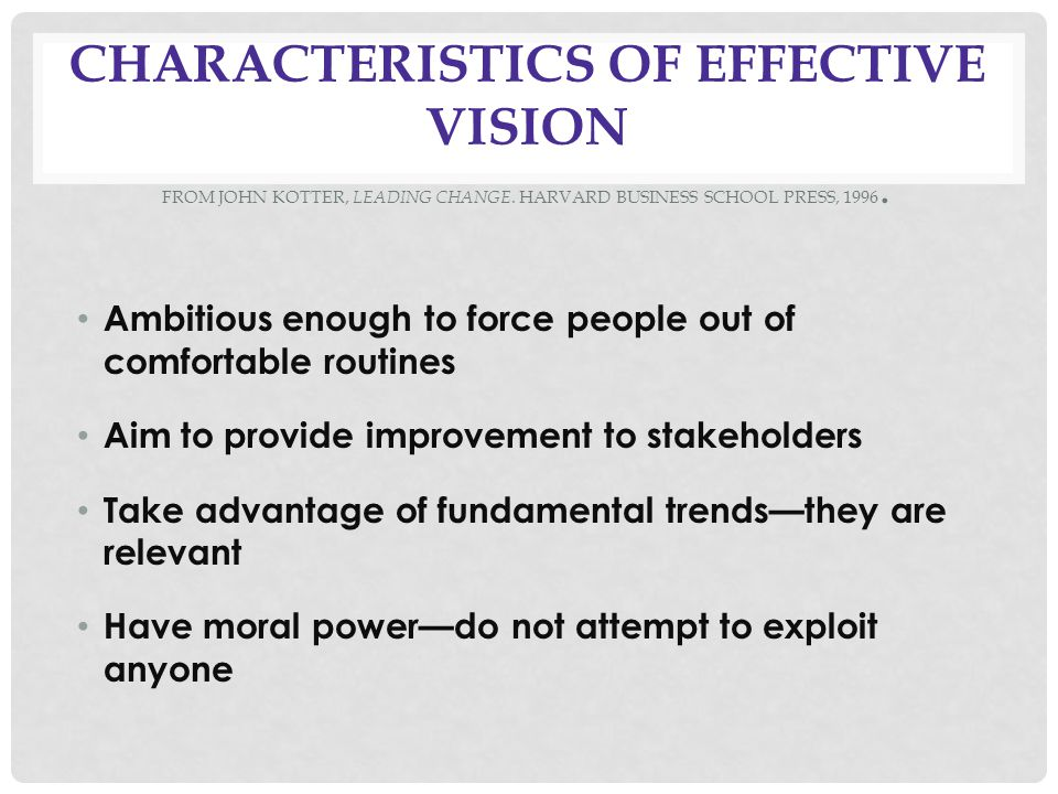 CHARACTERISTICS OF EFFECTIVE VISION FROM JOHN KOTTER, LEADING CHANGE.