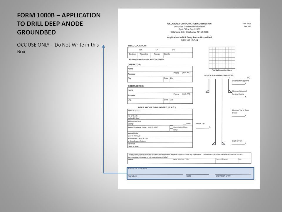 FORM 1000B – APPLICATION TO DRILL DEEP ANODE GROUNDBED. - ppt download