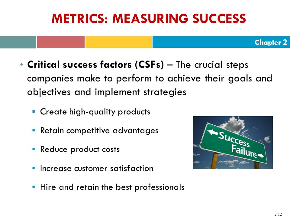 Chapter METRICS: MEASURING SUCCESS Critical success factors (CSFs) – The crucial steps companies make to perform to achieve their goals and objectives and implement strategies  Create high-quality products  Retain competitive advantages  Reduce product costs  Increase customer satisfaction  Hire and retain the best professionals