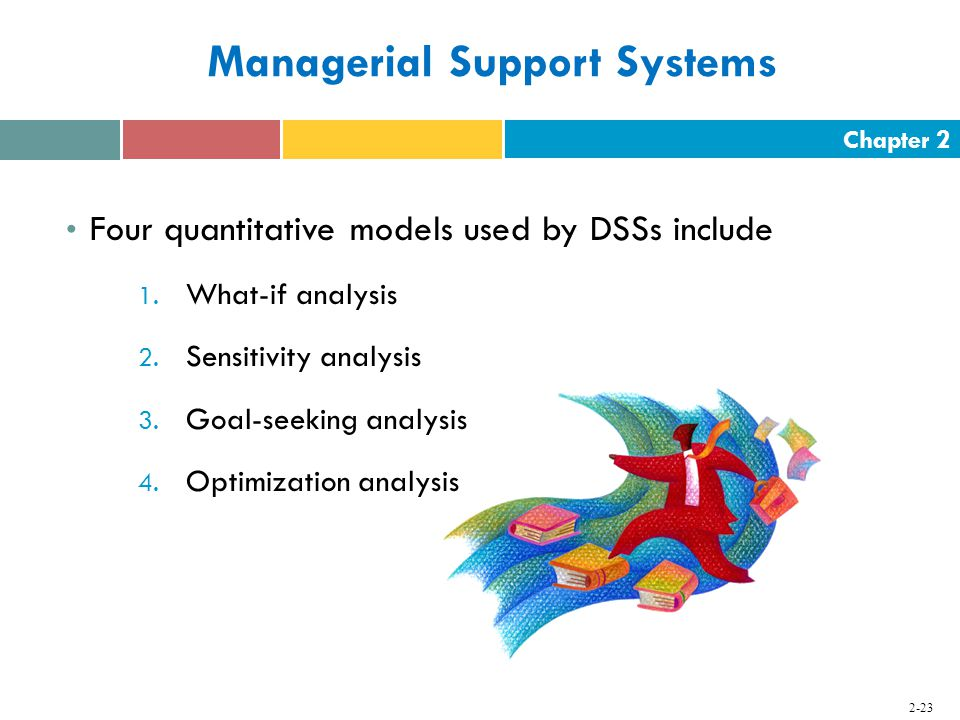 Chapter Managerial Support Systems Four quantitative models used by DSSs include 1.